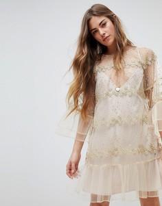 Кружевное платье мини с длинными рукавами Stevie May - Кремовый