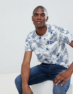 Светло-бежевая футболка с цветочным принтом Burton Menswear - Кремовый