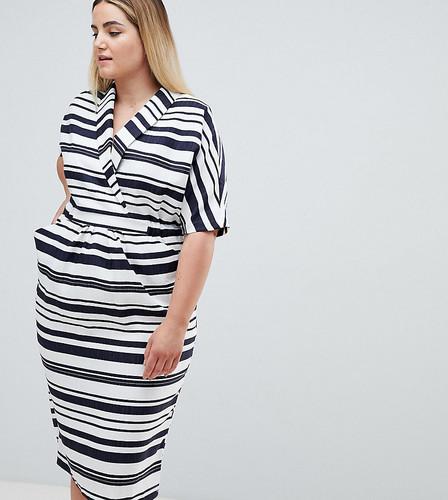 Платье миди в полоску с карманами ASOS DESIGN Curve - Мульти