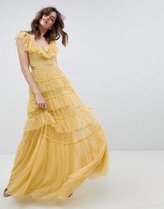 Ярусное платье макси с оборкой и принтом Needle & Thread - Желтый