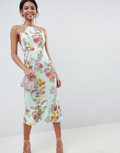 Облегающее платье миди с двойными бретельками, цветочным принтом и баской ASOS DESIGN - Мульти