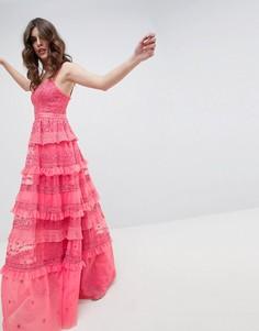 Розовое многослойное платье макси на бретелях Needle & Thread - Розовый