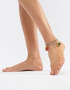 Браслет на ногу с подвеской-помпоном ASOS DESIGN - Серебряный