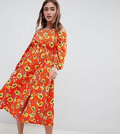 Красное платье миди с открытыми плечами и цветочным принтом ASOS DESIGN Petite - Мульти
