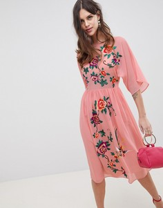 Свободное платье миди с вышивкой ASOS DESIGN - Розовый