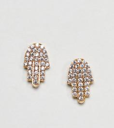 Позолоченные серьги-гвоздики Ottoman Hands - Золотой