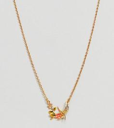 Позолоченное ожерелье с эмалированной ласточкой Bill Skinner - Золотой