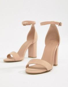 Босоножки в минималистичном стиле на блочном каблуке New Look - Бежевый