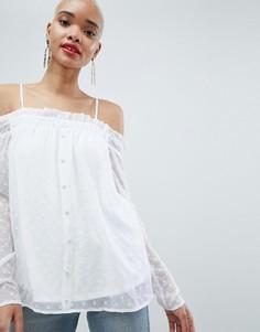 Блузка в горошек с открытыми плечами Pieces - Белый