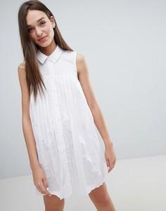 Хлопковое платье-рубашка мини со складками ASOS DESIGN - Белый