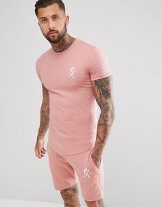 Розовая обтягивающая футболка с логотипом Gym King - Розовый