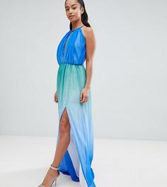 Платье макси с глубоким вырезом John Zack Petite - Синий