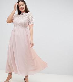 Платье макси с высоким воротом и кружевным топом John Zack Plus - Розовый