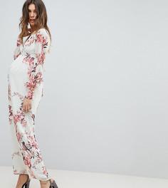 Платье макси на пуговицах с длинными рукавами и принтом Hope & Ivy Maternity - Мульти