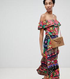 Платье миди с открытыми плечами и комбинированным принтом ASOS DESIGN Tall - Мульти