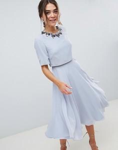 Приталенное платье миди ASOS DESIGN - Синий
