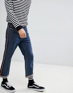 Укороченные джинсы прямого кроя с отделкой кантом Mennace - Синий