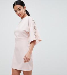 Платье-кимоно мини с кружевными вставками ASOS DESIGN Petite - Розовый