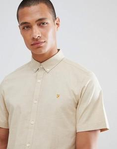 Бежевая приталенная рубашка с короткими рукавами Farah - Бежевый