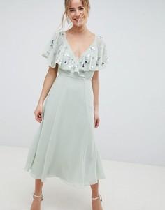 Платье миди с запахом и рукавами клеш ASOS DESIGN - Зеленый
