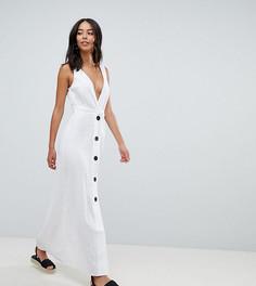 Платье макси на пуговицах с глубоким вырезом ASOS DESIGN Tall - Белый
