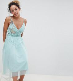 Платье миди с цветочной аппликацией Little Mistress Petite - Зеленый