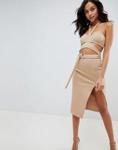 Платье миди с лямкой через шею, чашечками и вырезами ASOS DESIGN - Бежевый