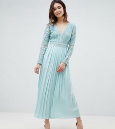 Приталенное платье миди с кружевным лифом и плиссированной юбкой Little Mistress Tall - Зеленый