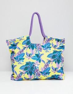 Пляжная сумка с тропическим принтом Monki - Желтый