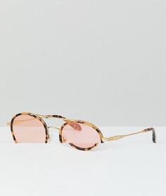 Розовые круглые солнцезащитные очки в черепаховой оправе Sonix Charlie - Коричневый