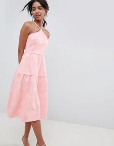 Кружевное платье для выпускного с ярусной юбкой ASOS DESIGN - Розовый