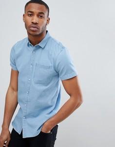 Голубая джинсовая рубашка классического кроя с короткими рукавами New Look - Синий
