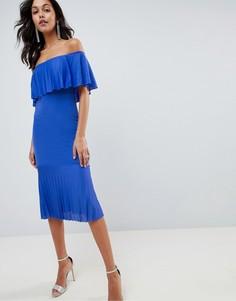 Платье миди с открытыми плечами и плиссировкой ASOS DESIGN - Синий