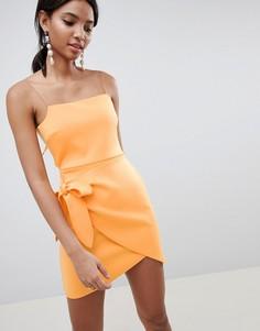 Платье мини с запахом и бантом ASOS DESIGN - Оранжевый