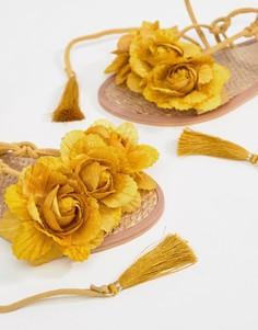 Кожаные сандалии с завязками и кисточками River Island - Желтый