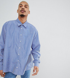 Оversize-рубашка в полоску Milk It - Темно-синий