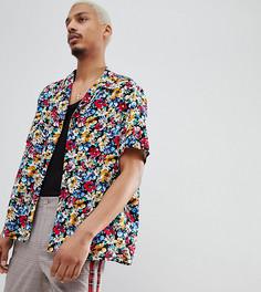Рубашка классического кроя с отложным воротником и цветочным принтом Milk It - Черный