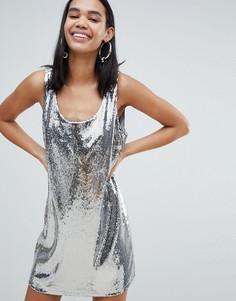 Платье с пайетками Weekday - Серебряный