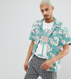 Рубашка классического кроя с отложным воротником и цветочным принтом Milk It - Зеленый