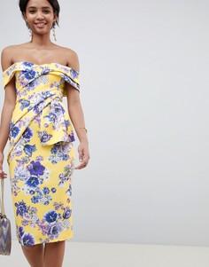 Платье миди с цветочным принтом и широким вырезом ASOS DESIGN - Мульти