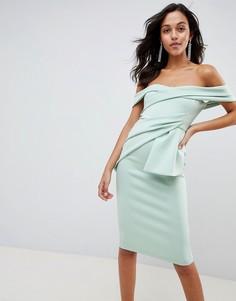 Платье миди с широким вырезом и запахом ASOS DESIGN - Зеленый