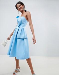 Платье для выпускного с топом в стиле оригами ASOS DESIGN - Синий