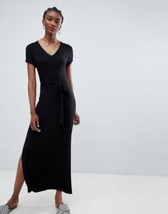 Однотонное платье макси с V-образным вырезом New Look - Черный