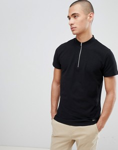 Черная футболка с молнией Lindbergh - Белый