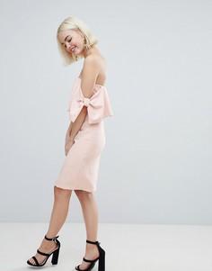 Платье миди с отделкой в виде бантов New Look - Бежевый