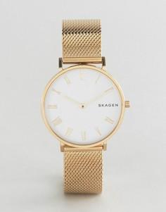 Золотистые часы с сетчатым ремешком Skagen SKW2713 - Золотой