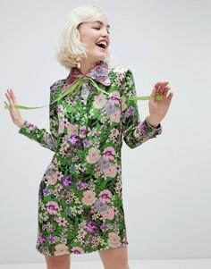 Свободное платье с лентами и принтом дракона Sister Jane - Зеленый