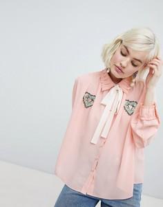 Блузка с завязкой и нашивками в виде сердец Sister Jane - Розовый