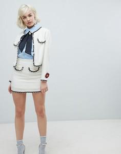 Комбинируемая мини-юбка с отделкой искусственным жемчугом Sister Jane - Кремовый