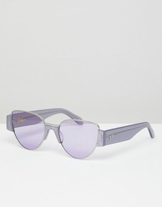 Сиреневые блестящие солнцезащитные очки кошачий глаз Vow London Dahlia - Фиолетовый